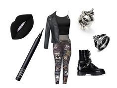 """""""My attempt at crust punk"""" by yasisapunkmermaid on Polyvore featuring Fleur du Mal, Valentino, Marc Jacobs and NARS Cosmetics"""