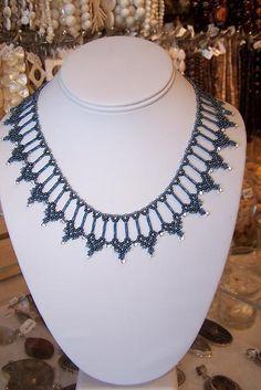 Beautiful beaded necklace. #nettingstitch #heartbeadwork