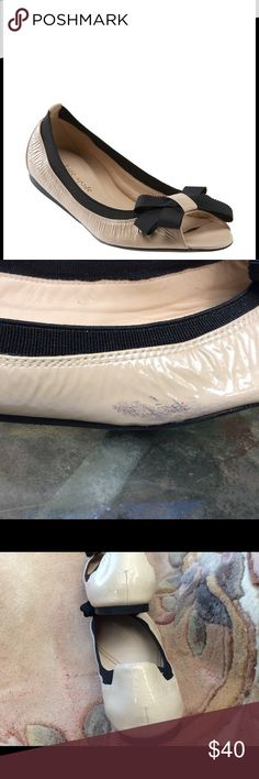 Kate spade felice  flats  size 10 Gently used Kate spade felise open toe flats size 10  Cream in color black around top of shoe and black bow  One small flaw on outside right shoe black scuff area kate spade Shoes Flats & Loafers