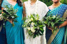 blue wedding saris - photo by danfredo photos + films http://ruffledblog.com/prospect-park-boathouse-wedding