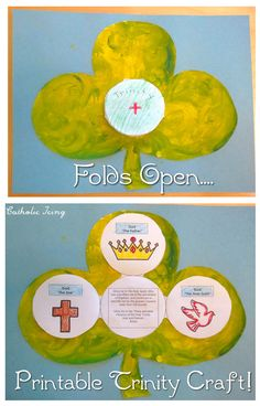 FREE TO PRINT! Easy shamrock printable to teach kids about the Trinity! Use Trinity booklet with shamrock craft, or it stands alone. Each time booklet is unfolded, it reveals a symbol of the Holy Trinity and a prayer to that person of the Holy Trinity. Perfect for St. Patrick's day. Check it out!