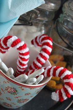 Crocheted candy canes.