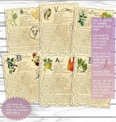 Basic Witchcraft Grimoire Printable Pages, Book of Shadows Pages, Herbs Pack 1, Herbal Reference Pages, BOS, Herbs Printable Set