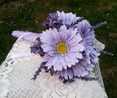 Gerber Daisy Arrangements | Lavender Gerbera Daisy Wedding Bouquet by TimelessFloralDesign