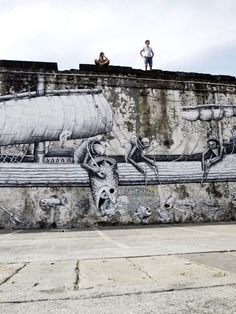Street art by Phlegm.