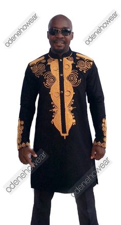 Odeneho Wear Men's Black Polished Cotton With Gold by Odenehowear