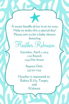 under the sea baby shower invitation printable file coral reef invitation by on etsy