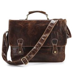 Vintage Handmade Antique Leather Briefcase Laptop Bag in Oil Tanned Cowhide