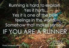 Running is hard to explain. Yes it hurts. Yes it is one of the best feelings in the world. Somehow it makes sense.... If you are a runner.