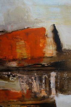 Orizon . 70 x 120 cm. Mixed media on cavas by Carolina Iturrospe