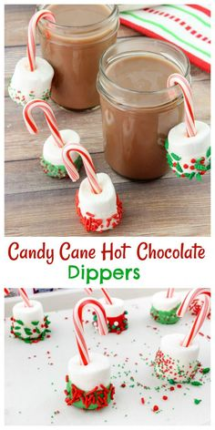 Brighten up your Hot Cocoa with these Candy Cane Hot Chocolate Dippers! Christmas Party Food, Christmas Brunch, Christmas Sweets, Christmas Cooking, Christmas Drinks, Holiday Baking, Christmas Desserts, Holiday Treats, Holiday Recipes
