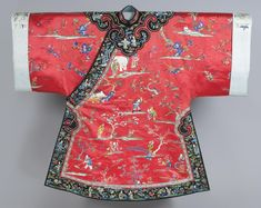 China, Woman's Informal Robe, Red silk satin with multicolored silk embroidery and gold metallic couching; black silk satin with multicolored silk embroidery and gold metallic couching; pale blue and blue figured satin and satin with multicolored silk embroidery and gold metallic couching; multiolored silk and gold metallic woven trim; black silk satin; blue silk plain weave, early 20th c