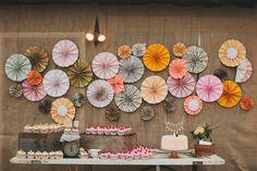 wedding pinwheel cake table decor