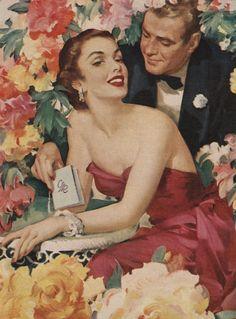 Иллюстрация пару в окружении цветов и плакатов Печать по Corbis