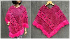 Vintage Hot Pink Woven Boho Southwestern Serape by ElkHugsVintage