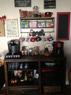 Our almost complete coffee bar. This piece has been a wonderful addition to our kitchen ❤