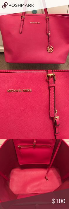 Pink Michael kors tote Pink Michael kors jet set tote like new condition only used once Michael Kors Bags Totes