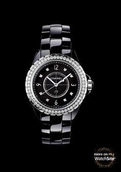 J12 Diamants - Céramique Noire - Diamants - Lunette Fine - 33 mm - Chanel