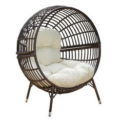 Found it at Wayfair - Cambria Round Ball Chair with Cushions Contemporary Outdoor Lounge Chairs, Outdoor Wicker Chairs, Patio Lounge Chairs, Cool Chairs, Arm Chairs, Joss And Main, Rattan, Comfy Armchair, Ball Chair