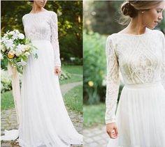 Detail Lace Floral Vintage Bohemian Country Long Sleeve Wedding Dresses 2018 Jewel Fairy Plus Size Garden Farm Bridal Reception Dress