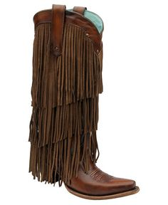 Corral Triple Layer Fringe Cowgirl Boots - Snip Toe....not sure if I'm scared of these or in love with them...lmao