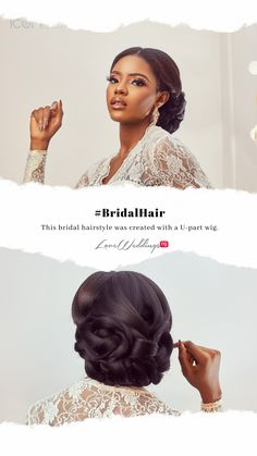 This bridal hairstyle was created with a U-part wig Bridal Hair Inspiration, U Part Wig, Hustle, Wigs, Bridesmaid, Hairstyles, Maid Of Honour, Haircuts, Hairdos