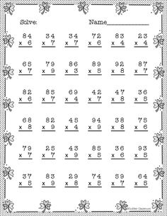 Double Digit Multiplication With Regrouping, Two Digit Multiplication 4th Grade Multiplication Worksheets, Math Division Worksheets, Math Addition Worksheets, 4th Grade Math Worksheets, Free Printable Math Worksheets, Math Word Problems, Math Practices, Math For Kids, Dj Inkers