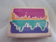 Icing on the Cake Rubber Stamp, Vintage 1993 Rubber Stampede Posh Impressions Wooden Back Stamper Birthday Theme
