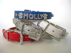 Name Crystal Bling Rhinestone Dog Collar | Personalized Red Blue White or Silver | Bling Dog Collar or Cat Collar | S M L XL