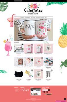 Desenvolvimento de Identidade Visual & layout da loja Cataflores, especializada em produtos criativos.