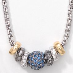 "Black Diamond, Crystal, and Sapphire crystal; rhodium, gold and hematite plating; 16"" to 18""."