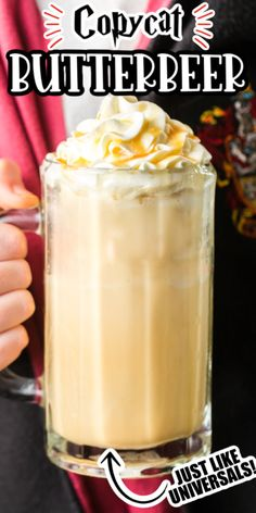 How to Make Butterbeer just like the Frozen Butterbeer in Harry Potter World at Universal Studios. This is the best copycat recipe ever. Easy to make and we have a hot butterbeer recipe too! (and even some instructions to make it with alcohol or without alcohol (and the hot version too!)!