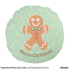 Gingerbread Man and Cookie Pattern Round Pillow