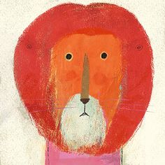 A less happy lion by Richard Jones , whose work has these wonderful scumbled layers of colour. Richard uses acrylic paints on cheap pape...