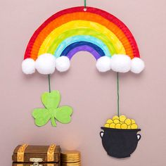 St Patrick's Day Rainbow Mobile St Patrick's Day Rainbow Mobile,Brandon Knight Costume Decorate your home or classroom with this colourful rainbow mobile with hanging shamrock and pot of gold! March Crafts, St Patrick's Day Crafts, Daycare Crafts, Classroom Crafts, Toddler Crafts, Spring Crafts, Preschool Crafts, Holiday Crafts, Preschool Kindergarten