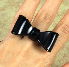 Black Bow Tie Ring, by SeventhFloorDesign on Etsy