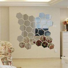 12pcs Acrylic Silver 3D Hexagonal Mirror Wall Stickers Home Decor