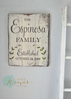 Family Established Sign with Leaves (customizable) Above entry table