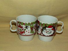 CHRISTMAS MUG SET 2 VINTAGE JAPAN COFFEE TEA CUP STACKING DOUBLE FINGER PAIR #Unbranded