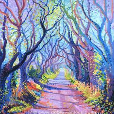 """And another Dark Hedges painting! The lighter brighter """"Dark Hedges - Shadows and Tall Trees"""" shows the avenue of stunning beeches on a crisp sunny day at the transition of autumn into winter. Oil Pastel Paintings, Colorful Paintings, Beautiful Paintings, Original Paintings, Portrait Paintings, Abstract Portrait, Art Paintings, Original Artwork, Landscape Art"""