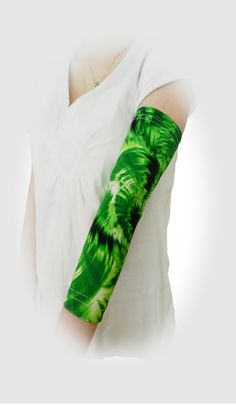 Lyme Green custom PICC line cover at off-the-shelf prices. Shown in 'Cosmos' full arm sleeve  by PICC Cover Fashions tm.