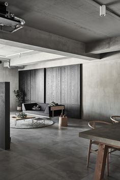 Simplistic Aesthetics with Industrial Elements: Gentle Heart of Steel by HAO Design Industrial Interior Design, Industrial Interiors, Contemporary Interior Design, Home Interior Design, Interior Shop, Interior Sketch, Studio Interior, Industrial House, Industrial Style