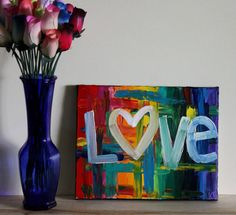 love is love is love is love rainbow love gay pride lgbt colorful palette knife textured dimensional canvas art acrylic painting