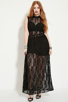 Forever 21 Plus Size Black Sheer Lace Floral Maxi Sleeveless Dress