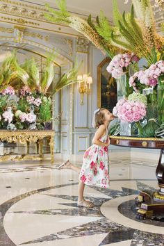 Stopping to smell the roses (or are those peonies?) at Four Seasons Hotel Geneva