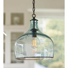 This Recycled Glass Globe Light ($589) is made from an antique French wine balloon bottle.