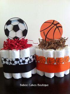 Set of 4 Mini Sports Diaper Cakes Boy Sports by BabeeCakesBoutique
