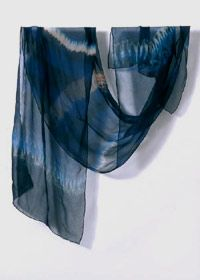 Shibori Indigo dyed scarf by Clarissa Cochran of Indigosilks.co.uk