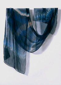 Shibori Indigo dyed scarf by Clarissa Cochran of Indigosilks.co.uk