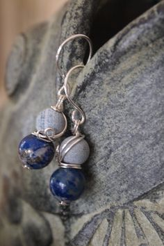 Earrings / Sterling Silver Dangle Earring / Wire Wrapped Blue Lapis Beads and Gray Crackle Lava Beads  Silver Fish Hook Ear Wires
